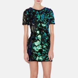 Topshop Black Velvet/Teal-Sequin Dress